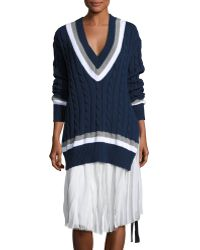 Public School - Cable Knit V-neck Sweater - Lyst