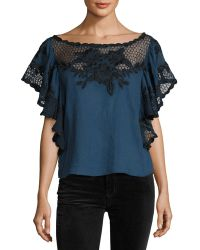 Tryb - Tika Short-sleeve Cotton Blouse - Lyst