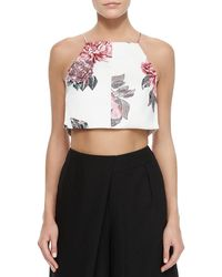 Cameo - Floral-print Sleeveless Crop Top - Lyst