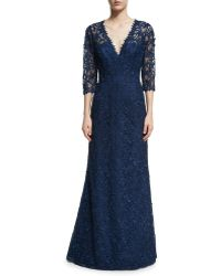 Liancarlo - Floral Lace V-neck Gown - Lyst