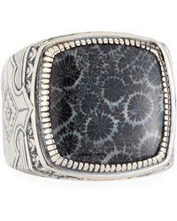 Konstantino - Heonos Men's Square Black Coral Ring - Lyst