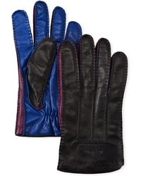 Etro - Men's Colorblock Leather Gloves - Lyst