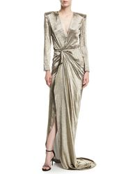Redemption - Long-sleeve Wrap-front Metallic Gown - Lyst