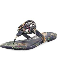 1b4dfdb3e2eaa5 Tory Burch - Miller Medallion Floral-print Leather Flat Thong Sandals - Lyst