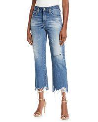 AG Jeans - Rhett Distressed High-rise Straight-leg Jeans - Lyst