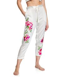 Josie Natori - Lily Floral-embroidered Lounge Pants - Lyst