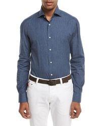 Isaia - Navetta Denim-effect Sport Shirt - Lyst