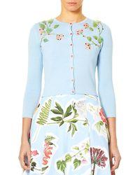 Carolina Herrera - 3/4-sleeve Button-down Cardigan W/ Floral Leaf Embroidery - Lyst