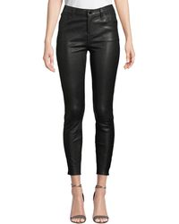 J Brand - Alana High-rise Crop Leather Skinny Pants - Lyst