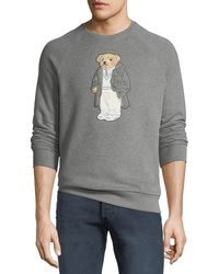 Ralph Lauren - Men's Bear-applique Crewneck Raglan Fleece Sweatshirt - Lyst