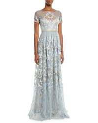 Marchesa notte - Embroidered Gown W/ Metallic Lace Trim - Lyst