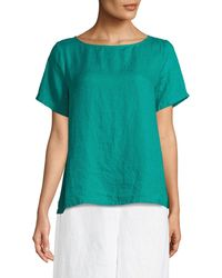 Eileen Fisher - Organic Handkerchief Linen Short-sleeve Top - Lyst