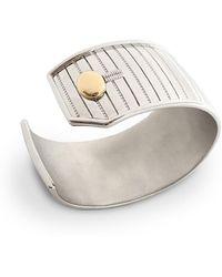 Monica Rich Kosann - Sterling Silver Pinstripe Cuff Bracelet With 18k Yellow Gold Trim - Lyst