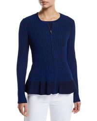 St. John - Charlotte Zip-up Fit-and-flare Cardigan - Lyst