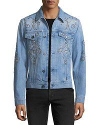 Versace - Studded Denim Jacket - Lyst