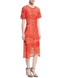 Stella McCartney - Carlotta Short-sleeve Lace Midi Dress - Lyst