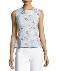 Brock Collection - Tara Sleeveless Gingham Suiting Top W/ Embellishments - Lyst
