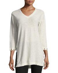 Belford - 3/4-slub V-neck Sweater - Lyst