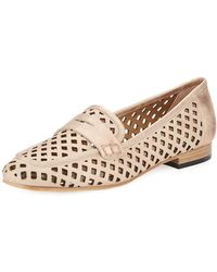 Sesto Meucci - Mela Perforated Metallic Murales Leather Loafer - Lyst