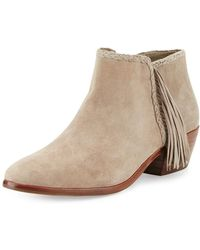 84579b06923a68 Sam Edelman - Paige Fringed Suede Ankle Boots - Lyst