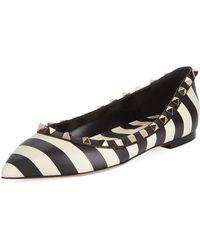 Valentino - V.stripes Rockstud Point-toe Leather Ballet Flats - Lyst