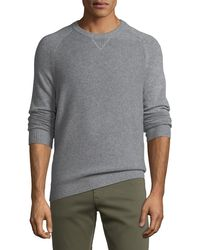 Neiman Marcus - Men's Tuck-stitch Cashmere Crewneck Sweater - Lyst