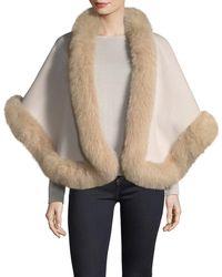 Neiman Marcus | Luxury Double-faced Cashmere Short Cape W/ Fox Fur Trim | Lyst