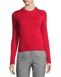 Michael Kors - Button-detail Cashmere Crewneck Sweater - Lyst