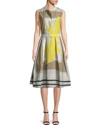 Piazza Sempione - Sleeveless Graphic-print Dress With Full Skirt - Lyst