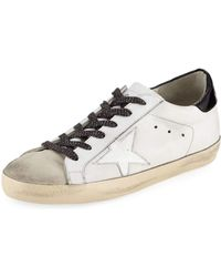 Golden Goose Womens Superstar Leather Low-Top Sneakers in Pink - Golden Goose Outlet