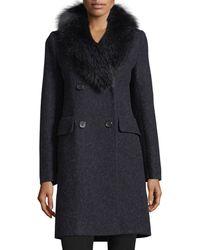 Fleurette - Double-breasted Long-sleeve Wool Coat W/ Fox Fur - Lyst