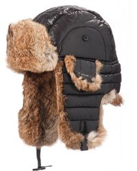 Crown Cap - Quilted Nylon Aviator Hat With Rabbit Fur - Lyst
