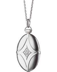 Monica Rich Kosann - Silver & White Sapphire Petite Bridal Locket Necklace - Lyst