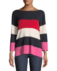 Neiman Marcus - Cashmere-blend Striped Boxy Sweater - Lyst