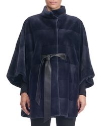 Reich Furs - Sheared Mink Horizontal Belted Cape Coat - Lyst