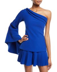 Brandon Maxwell - One-shoulder Pintucked Crepe Top - Lyst