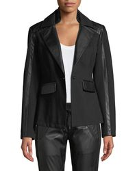 BLANC NOIR - Castro Ponte Leather Lace-up Blazer - Lyst