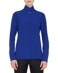 Akris - Mock-neck Button-front Silk Blouse - Lyst