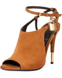 Tom Ford - Lock Suede Open-toe Ankle-wrap Bootie - Lyst