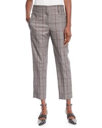 Brunello Cucinelli - Plaid Windowpane Wool Straight-leg Ankle Pants - Lyst