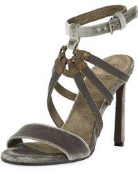 Brunello Cucinelli - 100mm Monili-strap Velvet Sandal - Lyst