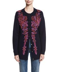 Co. - Floral-beaded Wool-cashmere Cardigan - Lyst