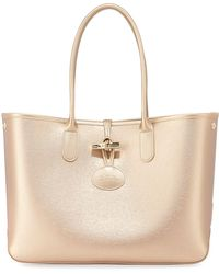 Longchamp - Roseau Metallic Leather Shoulder Tote Bag - Lyst 8b4286a6faacb
