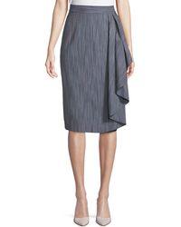 Badgley Mischka - Striped Skirt W/ Draped Ruffle - Lyst