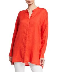 Eileen Fisher Petite Band-collar Button-down Long-sleeve Handkerchief Linen Shirt - Red