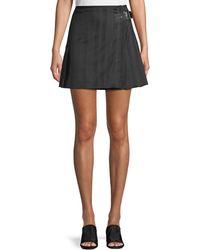 McQ - Striped Wool Kilt Skirt W/ Buckle - Lyst