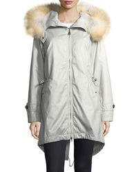 Peuterey - Statics Distressed Long-sleeve Anorak Jacket W/ Fur Trim - Lyst
