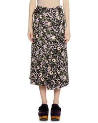 Marni - Wrap Tie-waist Marken Abstract-print Cotton Sateen Skirt - Lyst