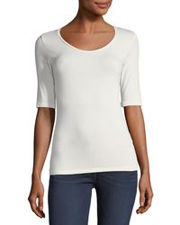 Neiman Marcus - Half-sleeve Scoop-neck Top - Lyst