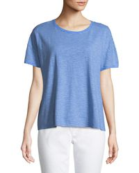 Eileen Fisher - Striped Jersey Boxy Top - Lyst